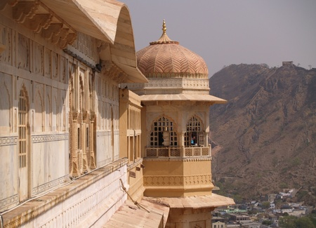Located in Amber, 11 km from Jaipur, Rajasthan state, India. It was the ancient citadel of the ruling Kachhawa clan of Amber, before the capital was shifted to present day Jaipur. Amber Fort is known for its unique artistic style, blending both Hindu and  photo