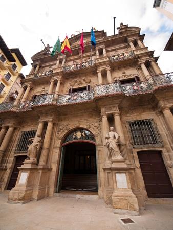 navarra: Pamplona city hall facade in Navarra, Spain