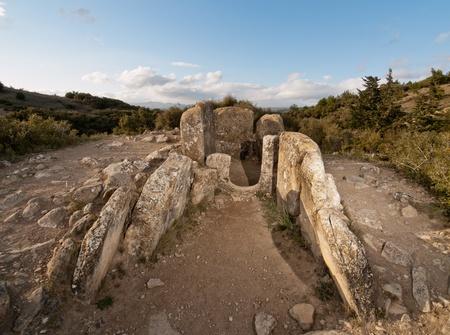 portillo: Dolmen of Portillo de Eneriz and  Mina de Farangortea Dolmen of Mina de Farangortea in Artajona, Navarra, Spain Stock Photo