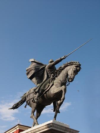 uomo a cavallo: Famoso eroe storico di Spagna: El Cid conosciuto anche come Rodrigo (o Ruy) Diaz de Vivar. Statue in città Burgos.