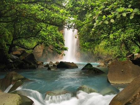 jungle green: Celestial blue waterfall in Costa Rica
