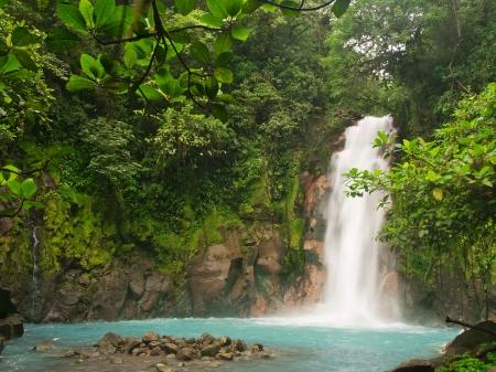 Celestial blue waterfall in Costa Rica  photo
