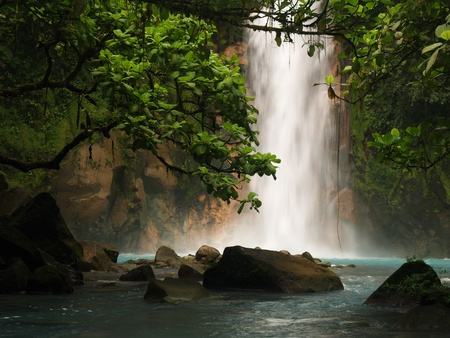 celestial: Celestial blue waterfall in Costa Rica