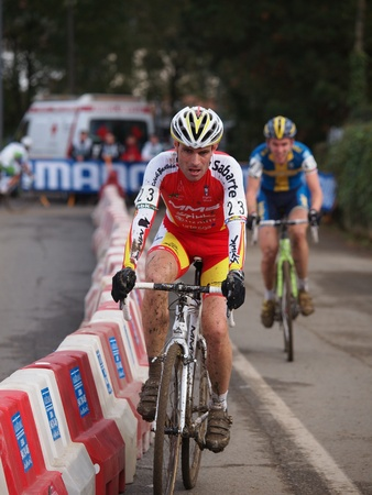 IGORRE, SPAIN - DECEMBER 4: Spanish rider Javier Ruiz de Larrinaga racing in the fourth round of the 2011-2012 Cyclo-cross World Cup on December 4, 2011 in Igorre, Spain Stock Photo - 11729691