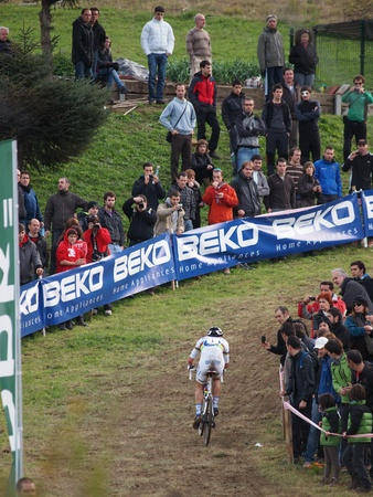 IGORRE, SPAIN - DECEMBER 4: The current World Champion Zdenek Stybar finished fifth in the fourth round of the 2011-2012 Cyclo-cross World Cup on December 4, 2011 in Igorre, Spain