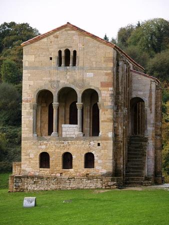 patrimony: The church of St Mary at Mount Naranco is a Roman Catholic Asturian pre-Romanesque Asturian architecture church on the slope of Mount Naranco  Stock Photo