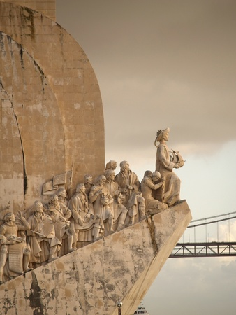 discoveries: Sculpture on the Discoveries Age and Portuguese navigators in Lisbon, Portugal Editorial