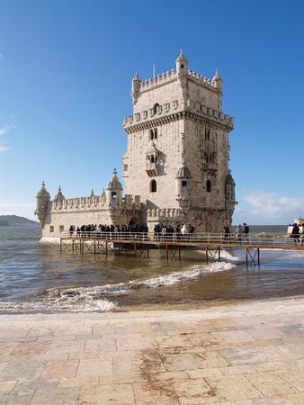 torre: LISBON - DECEMBER 31: Tourist enjoy visiting the Belem Tower (Torre de Belem), a symbol of Lisbon, Portugal