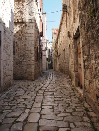 Beauty old narrow alley in  town, Trogir - Croatia photo