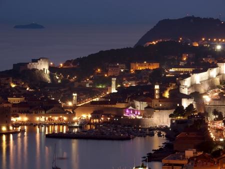croatia dubrovnik: The Old Town of Dubrovnik at sunset, Croatia  Editorial