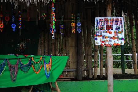 indigenous handicrafts that are being sold on a market in latin america