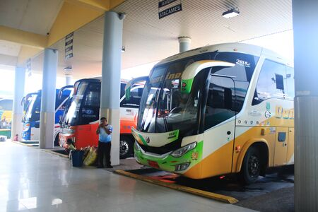 Puyo, Ecuador, 5-5-2019: Public transport - All buses to various directions lined up Editorial