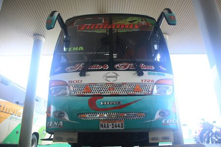 Puyo, Ecuador, 5-5-2019: Public transport - the Bus from Jumandy that goes to Tena