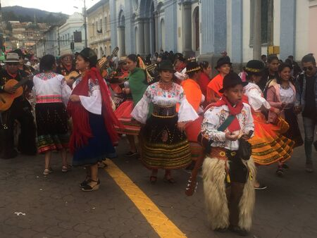 Otavalo, Ecuador: 29-6-2019: festival with colorful indigenous clothes celebrating a won battle in the sierra of ecuador