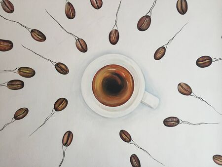 Banos, Ecuador, 18-7-2019: Coffee art - A wall painting of coffee beans as sperm swimming towards a cup of coffee Editoriali