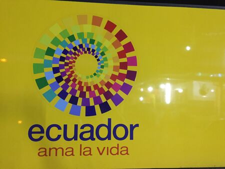 Montanita, Ecuador 5-7-2019: The national logo of ecuador with their slogan