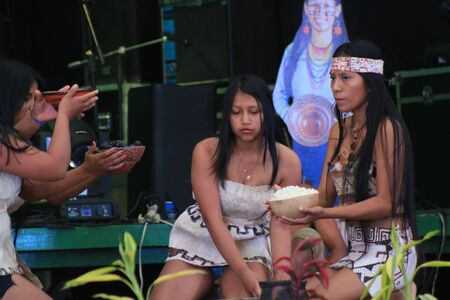 Puyo, Ecuador, 17-8-2019: an indigenous tribe called zaparas performing a traditional dance with chicha Editöryel