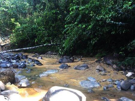 River in tropical rainforest polluted with dirt, the side effects of gold mining clearly visible