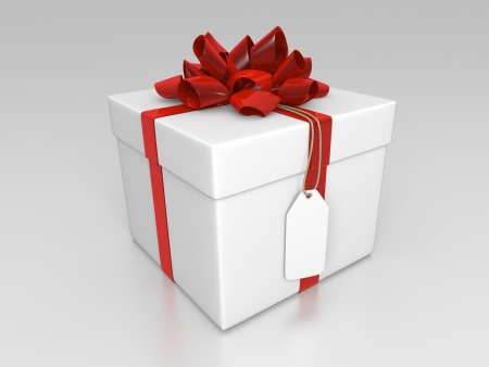 White giftbox with red ribbon and label Stock Photo - 14481979