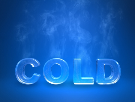 evaporating: Evaporating icy cold inscription on a blue background Stock Photo