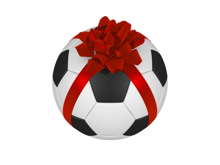 Soccer ball with ribbon photo