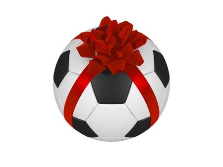 Soccer ball with ribbon photo