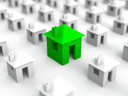 Real estate illustration with many white houses and bigger green in the middle  Selective focus Stock Illustration - 14759674