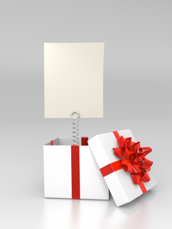 letter box: Opened giftbox with blank card