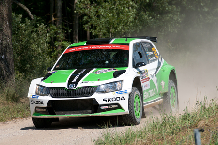 MIKOLAJKI, POLAND - JUL 1: Pontus Tidemand and his codriver Jonas Andersson in a skoda Fabia R5 race in the 73nd Rally Poland, on July 1, 2016 in Mikolajki, Poland. Publikacyjne