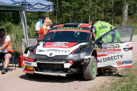 MIKOLAJKI, POLAND - JUL 1: Nicol%uFFFDs Fuchs and his codriver Fernando Mussano in a skoda Fabia R5 race in the 73nd Rally Poland, on July 1, 2016 in Mikolajki, Poland.