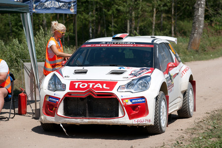 MIKOLAJKI, POLAND - JUL 1: Quentin Gilbert and his codriver Renaud Jamou in a Citroen DS3 R5 race in the 73nd Rally Poland, on July 1, 2016 in Mikolajki, Poland. Publikacyjne