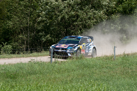 MIKOLAJKI, POLAND - JUL 1: Andreas Mikkelsen and his codriver Anders Jaeger Synnevaag in a Volkswagen Polo R WRC race in the 73nd Rally Poland, on July 1, 2016 in Mikolajki, Poland. Publikacyjne