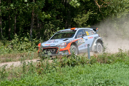 MIKOLAJKI, POLAND - JUL 1: Dani Sordo and his codriver Marc Marti in a Hyundai New Generation i20 WRC race in the 73nd Rally Poland, on July 1, 2016 in Mikolajki, Poland.