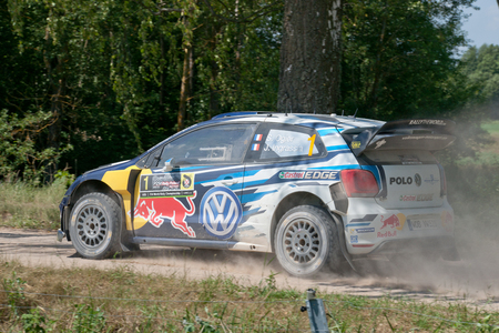 MIKOLAJKI, POLAND - JUL 1: Sebastien Ogier  and his codriver Julien Ingrassia in a Volkswagen Polo R WRC race in the 73nd Rally Poland, on July 1, 2016 in Mikolajki, Poland. Publikacyjne