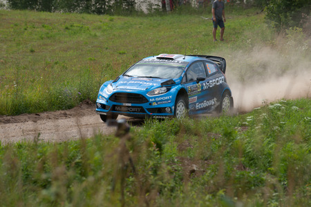 MIKOLAJKI, POLAND - JUL 1: Mads Ostberg and his codriver Ola Floene in a Ford Fiesta RS WRC race in the 73nd Rally Poland, on July 1, 2016 in Mikolajki, Poland.
