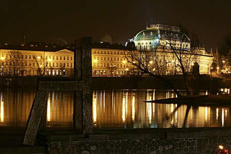 Night Prague on the Vltava 1              Stock Photo