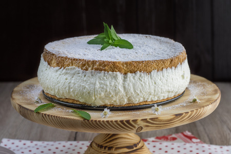 Traditional Austrian dessert Cream-Cheesecake  on a wooden plate with mint leaves Stock Photo