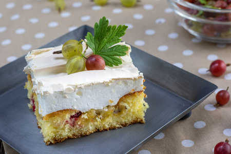 Detail on a Sweet Meringue gooseberry cake on metal tray and full gooseberries bowl Stockfoto