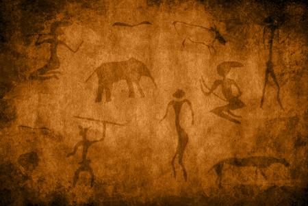 peinture rupestre: Cave de peinture avec les animaux et les chasseurs