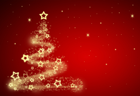 christmas tree illustration: Red christmas background illustration - tree