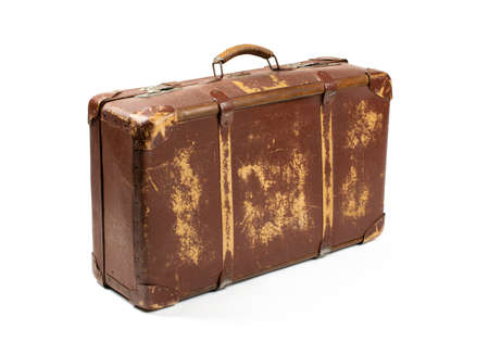 Vintage style. Antiquated and used suitcase isolated on white background Stock Photo