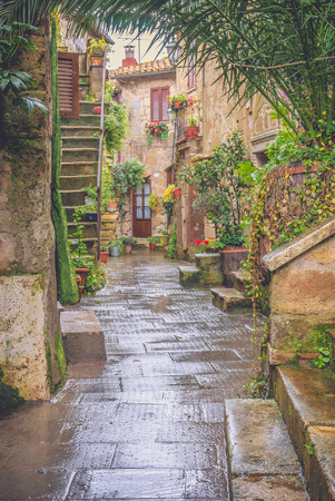 The old Etruscan town in northern Tuscany, Pitigliano, Italy  photo