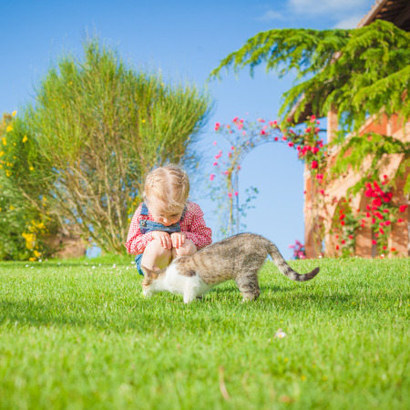 Little girl plays with a cat on a green blade of grass Фото со стока