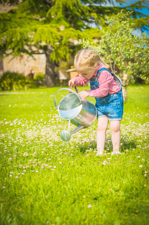 Little gardiner on the green grass in a summer day Фото со стока - 28928268