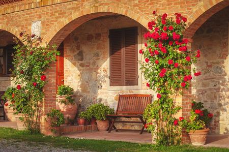 Italiaanse agriturismo in Toscane Stockfoto