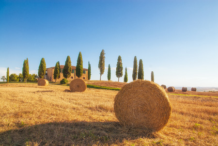 Een spectaculair uitzicht op het Toscaanse landschap, Pienza, Italië