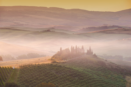 val d      orcia: Beautiful sunrise over the Val d Orcia