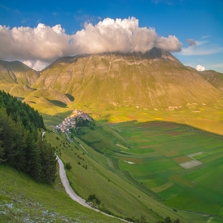 Summer day in the beautiful and colorful area of Castelluccio di Norcia, Italy photo