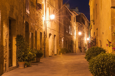 The Italian town late at night in Tuscany photo