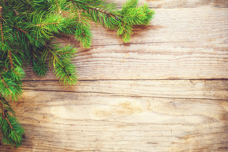 Christmas background on a wooden rustic old table Фото со стока - 30913375